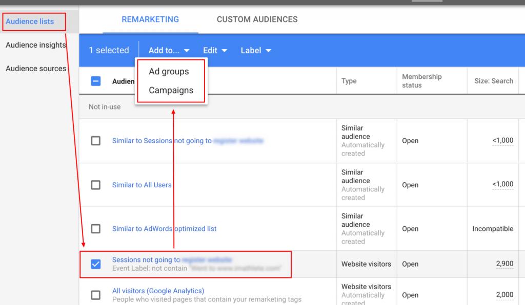 liste audiență google ads